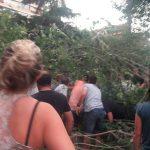 Momento en el que los vecinos quitan la rama