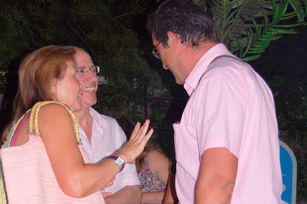El exalcalde de Leganés y el alcalde de Dos Barrios en una imagen de las Fiestas de Butarque