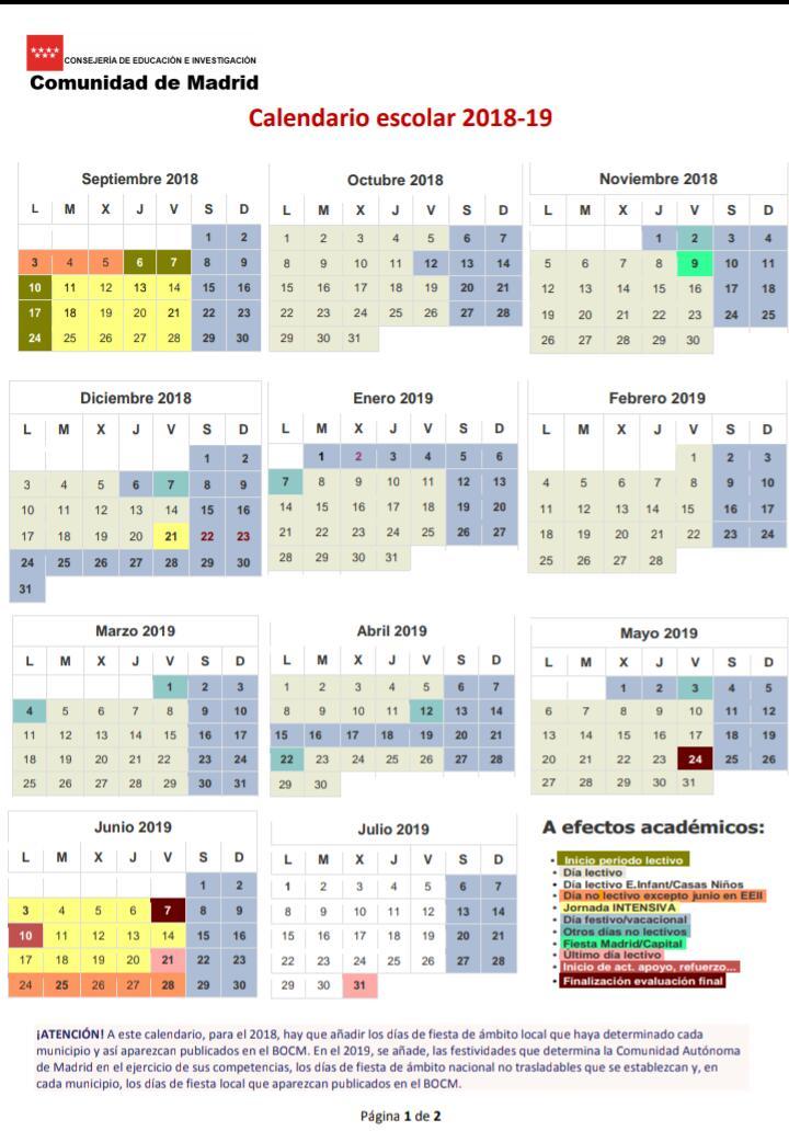 Calendario Escolar 18 19 Asturias.Calendario Curso 18 19