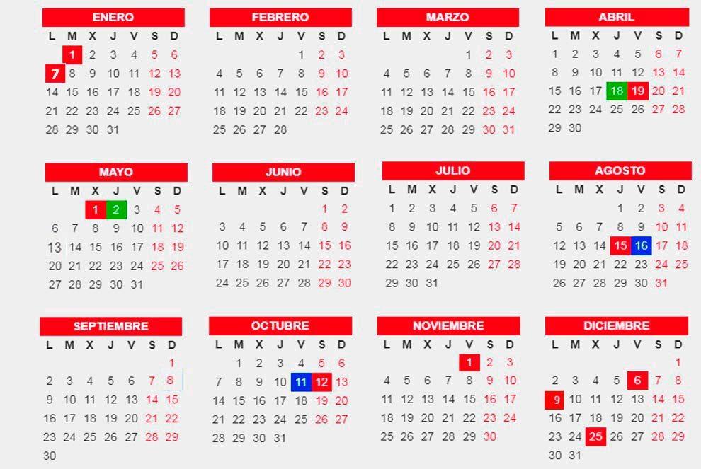 El calendario laboral para el a o 2019 ya es oficial 7 de for Calendario eventos madrid