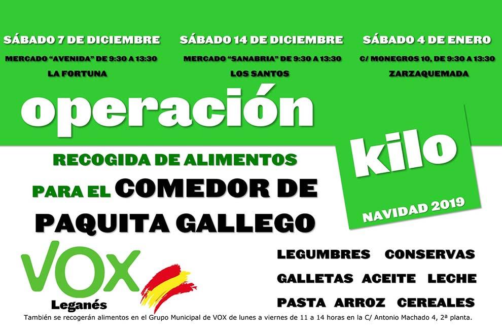 Resultado de imagen de VOX inicia una recogida de alimentos en Leganés para el Comedor de Paquita Gallego que se prolongará durante toda la Navidad